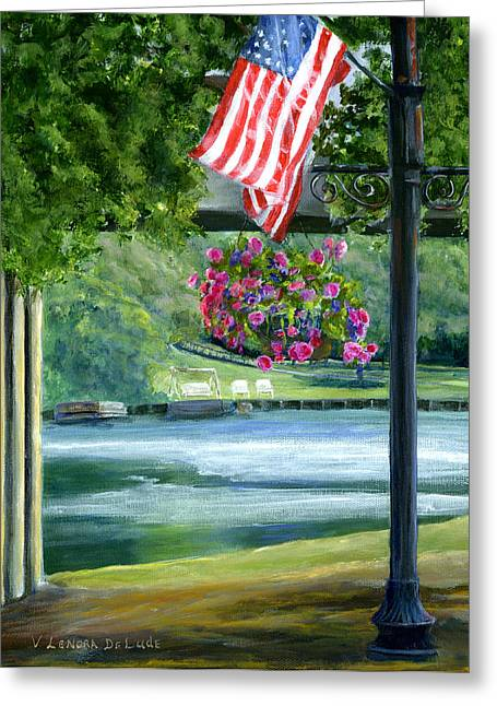 Greeting Card featuring the painting American Flag In Natchitoches Louisiana by Lenora  De Lude