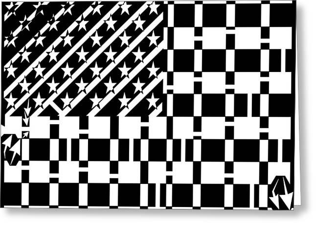 American Flag Maze  Greeting Card by Yonatan Frimer Maze Artist