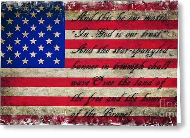 American Flag Tribute Greeting Card by Miryam  UrZa