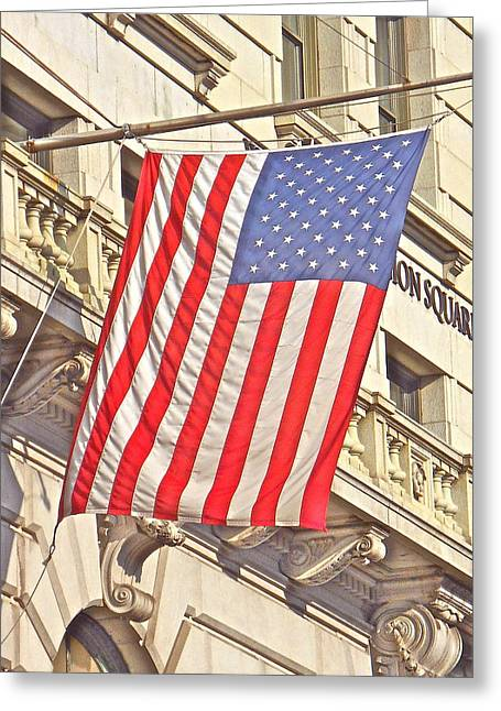 Greeting Card featuring the photograph American Flag N.y.c 1 by Joan Reese