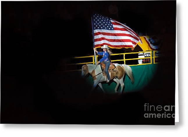 American Flag On Display Greeting Card by Robert Bales