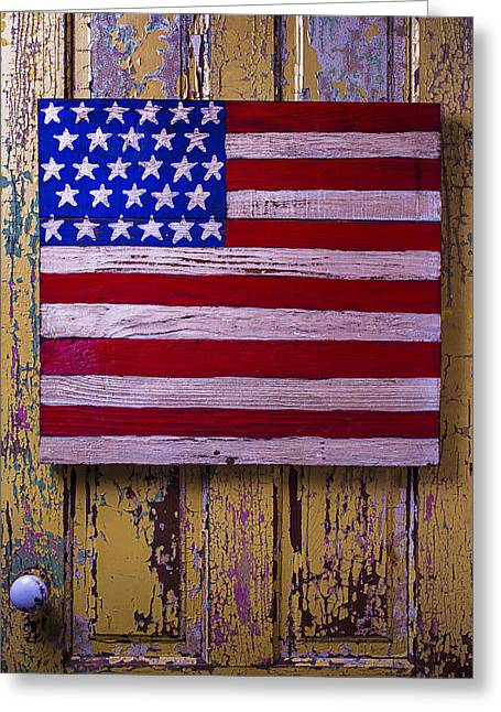 American Flag On Old Door Greeting Card by Garry Gay