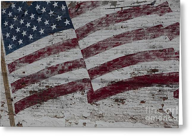 American Flag Painted On Brick Wall Greeting Card by Keith Kapple
