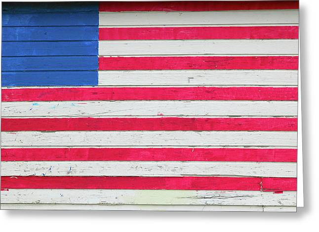 American Flag Painted On Side Of Rustic Greeting Card