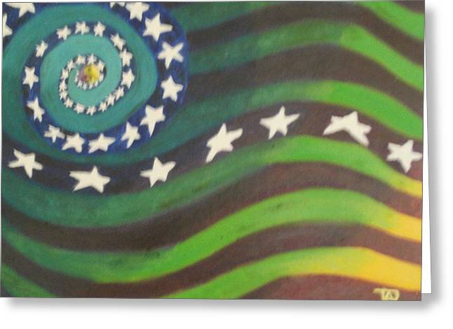 Greeting Card featuring the painting American Flag Reprise by Thomasina Durkay