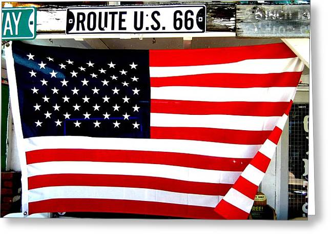 American Flag Route 66 Greeting Card by Dany Lison
