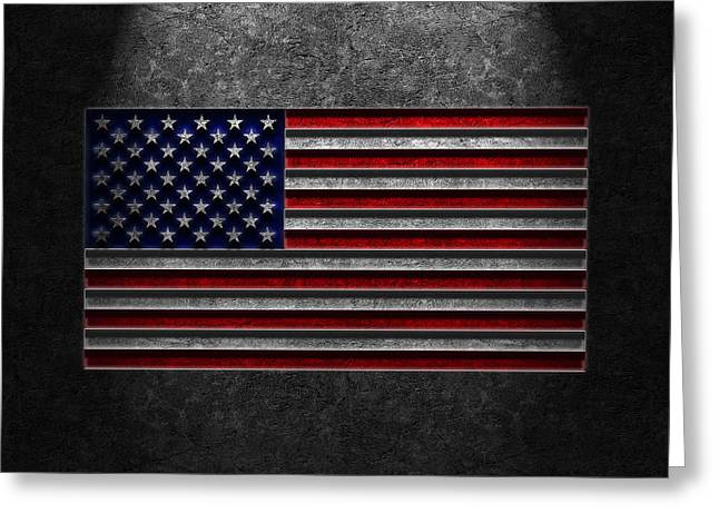 Greeting Card featuring the digital art American Flag Stone Texture by Brian Carson