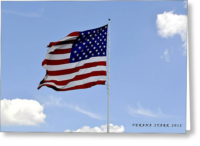 Greeting Card featuring the photograph American Flag by Verana Stark