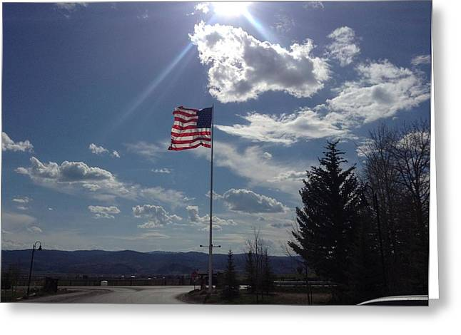 American Flag Waving In The Sunrays Greeting Card by Shawn Hughes