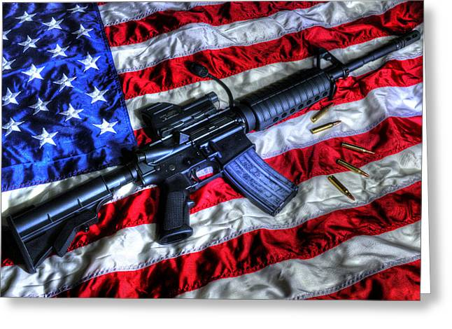 American Flag With Rifle Greeting Card