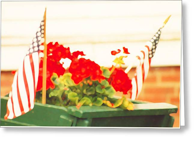 American Flags And Geraniums In A Wheelbarrow In Maine, One Greeting Card
