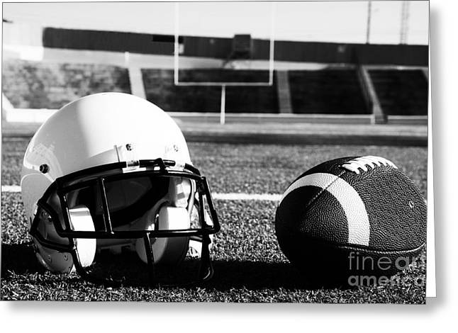 American Football And Helmet On Field Greeting Card