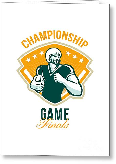 American Football Championship Game Finals Crest Greeting Card by Aloysius Patrimonio