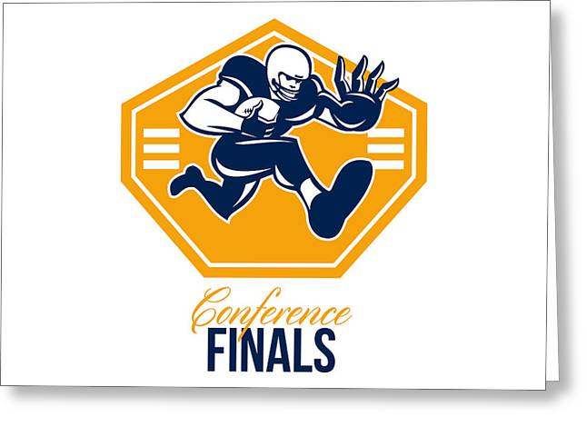 American Football Conference Finals Shield Retro Greeting Card
