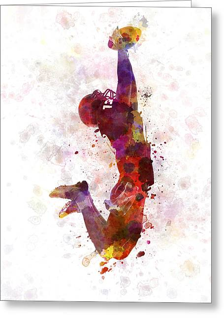 American Football Player Catching Ball  Silhouette Greeting Card by Pablo Romero