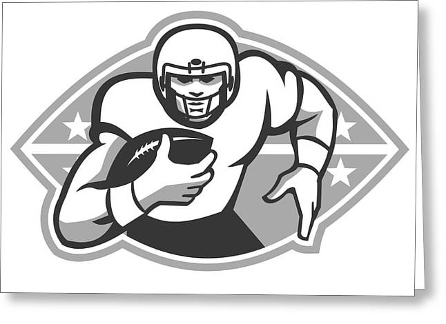 American Football Player Running Back Grayscale Greeting Card by Aloysius Patrimonio