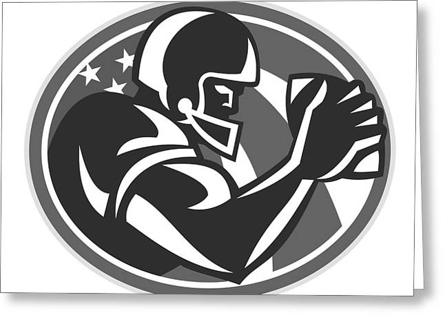 American Football Player Side View Grayscale Greeting Card