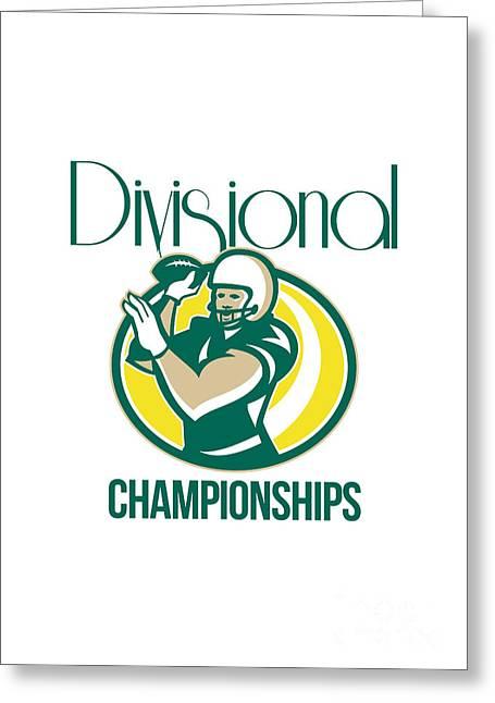 American Football Qb Divisional Championships Retro Greeting Card