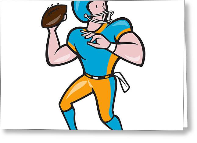 American Football Quarterback Qb Throwing Cartoon Greeting Card by Aloysius Patrimonio