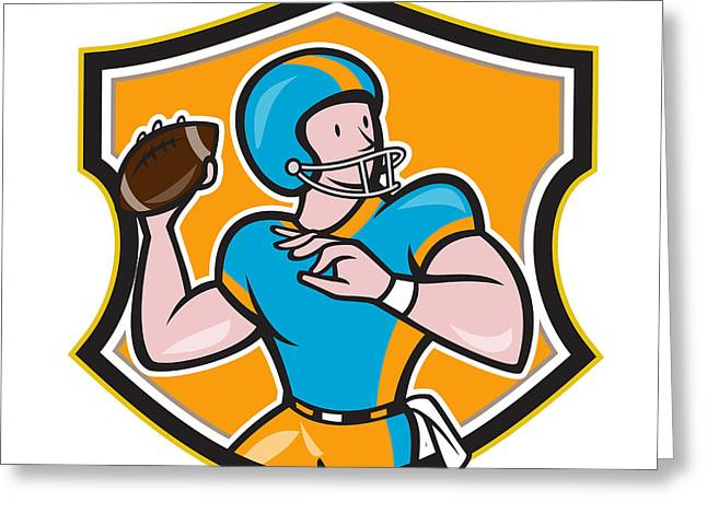American Football Quarterback Throw Shield Cartoon Greeting Card by Aloysius Patrimonio