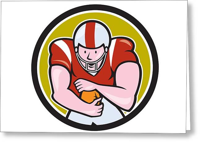 American Football Running Back Circle Cartoon Greeting Card