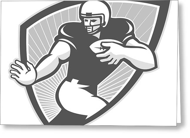American Football Running Back Shield Grayscale Greeting Card