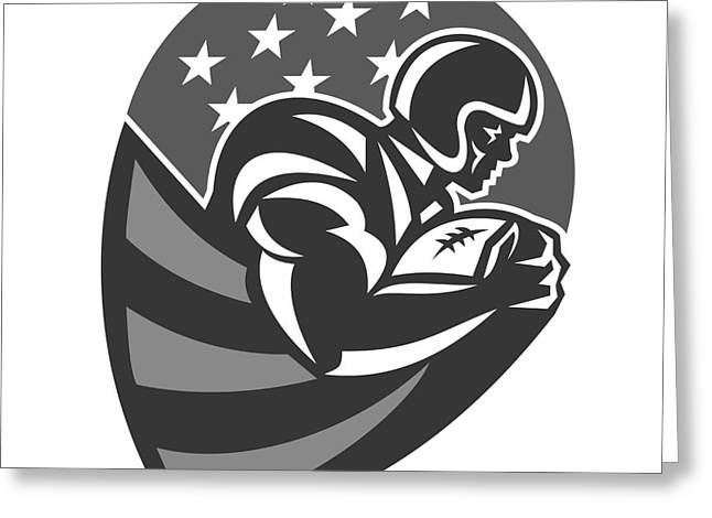 American Football Running With Ball Grayscale Greeting Card