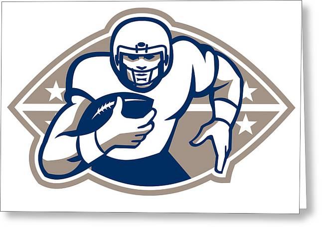 American Football Runningback  Star Front Greeting Card by Aloysius Patrimonio