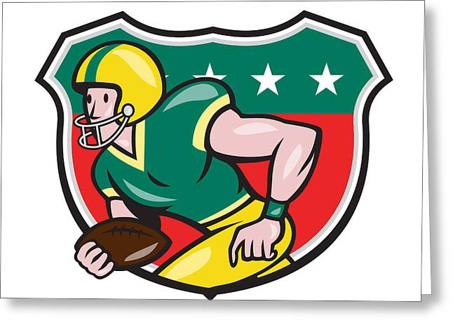 American Football Wide Receiver Running Ball Shield Greeting Card by Aloysius Patrimonio