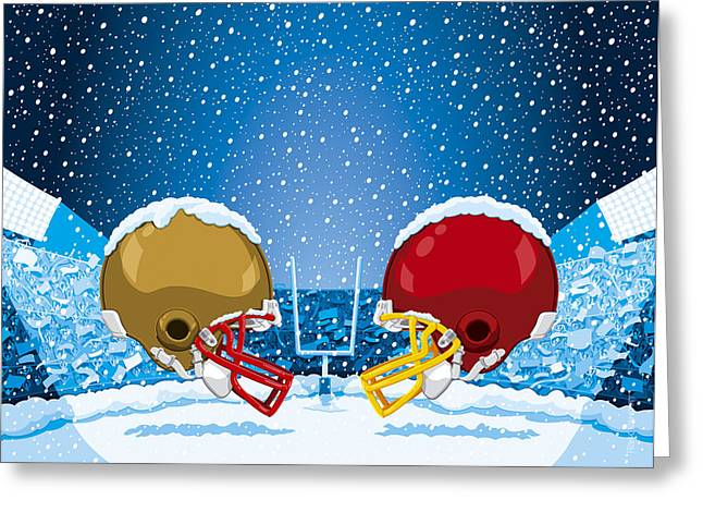 American Football Winter Snow Helmet Stadium Greeting Card by Frank Ramspott