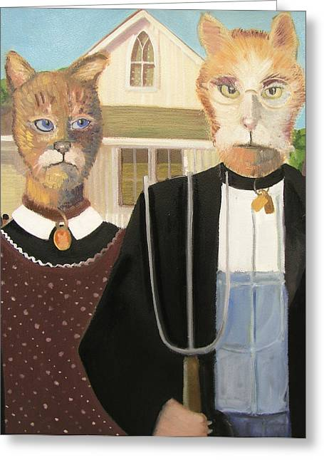 American Gothic Cat Greeting Card by G Kitty Hansen
