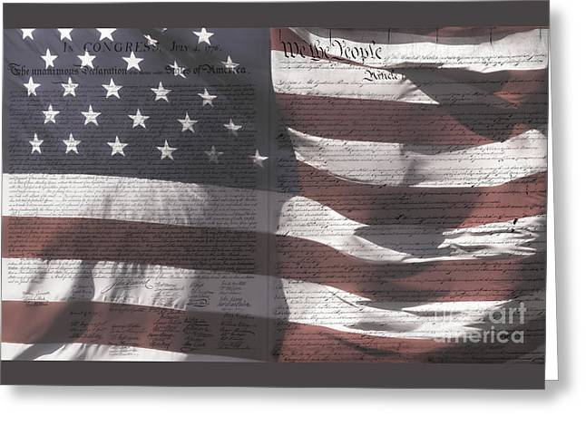 Historical Documents On Us Flag Greeting Card