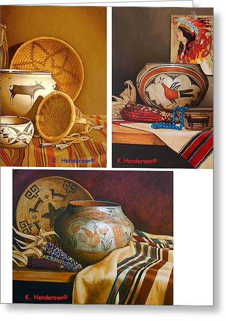 American Indian Pottery By K Henderson Greeting Card by K Henderson