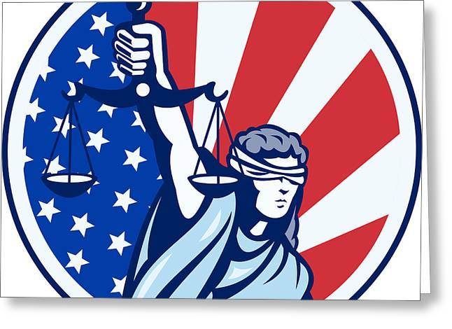 American Lady Holding Scales Of Justice Flag Retro Greeting Card by Aloysius Patrimonio