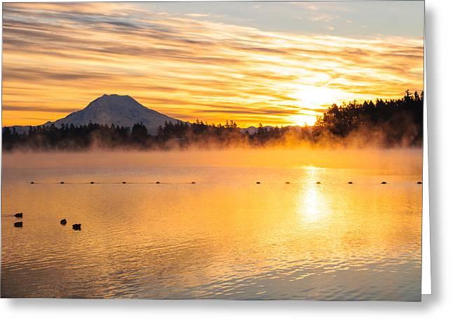 American Lake Misty Sunrise Greeting Card