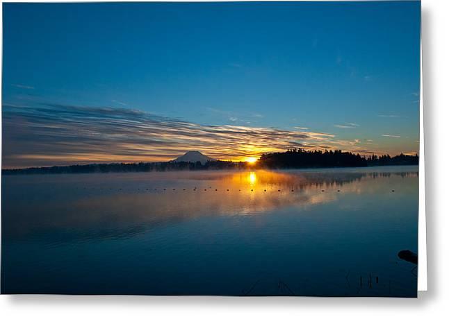American Lake Sunrise Greeting Card by Tikvah's Hope