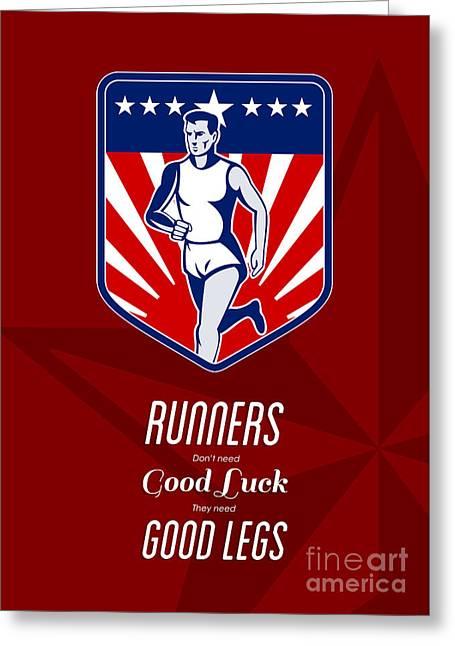 American Marathon Runner Good Legs Poster Greeting Card
