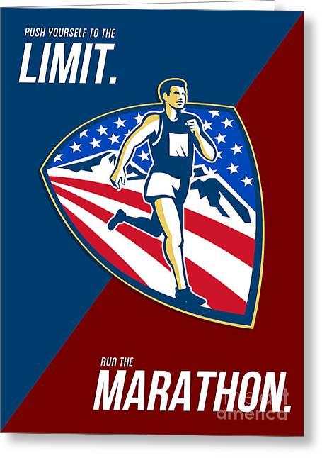 American Marathon Runner Push Limits Retro Poster Greeting Card by Aloysius Patrimonio
