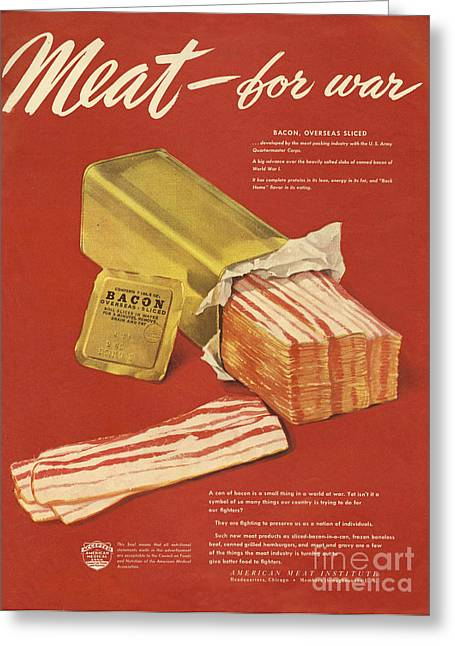 American Meat Institute 1950s Usa Bacon Greeting Card
