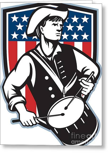 American Patriot Drummer With Flag Greeting Card by Aloysius Patrimonio