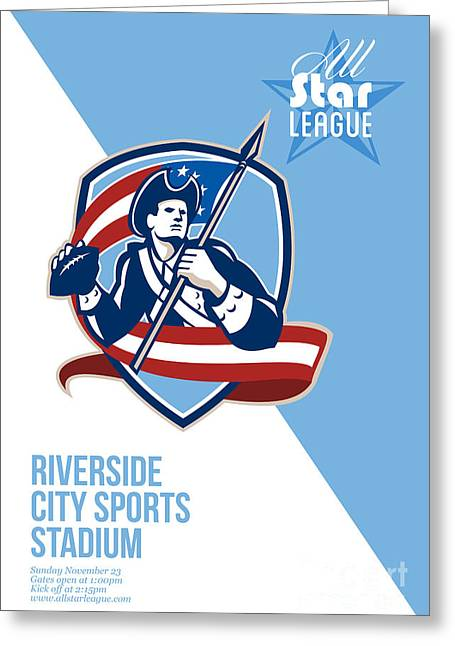 American Patriot Football All Star League Poster Greeting Card by Aloysius Patrimonio