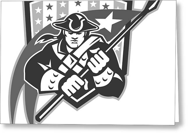 American Patriot Holding Brandish Flag Grayscale Greeting Card