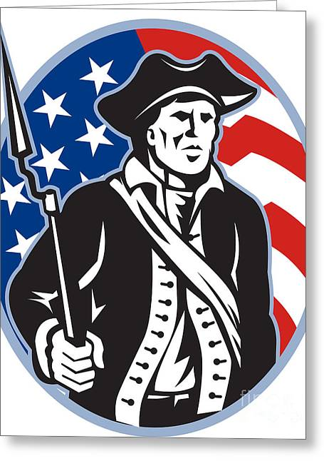 American Patriot Minuteman With Bayonet Rifle And Flag Greeting Card by Aloysius Patrimonio
