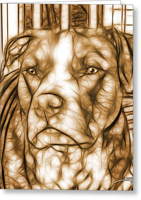 American Pit Bull - Sepia Sketch  Greeting Card by Michael Spano