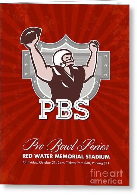 American Pro Football Bowl Retro Poster Art Greeting Card