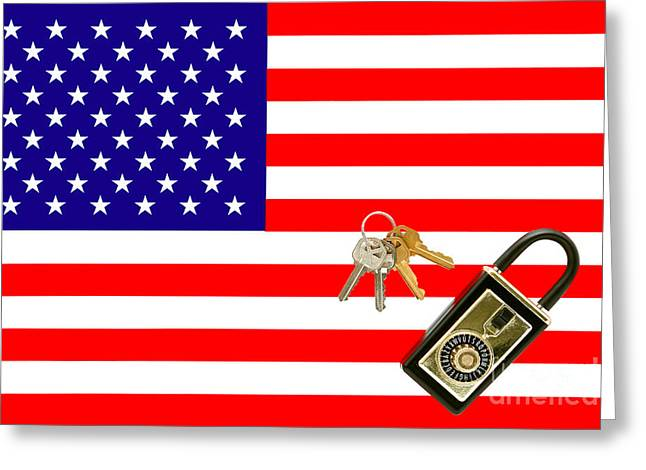 Combinations Greeting Cards - American Real Estate with Keys Lock Box and American Flag Greeting Card by Olivier Le Queinec