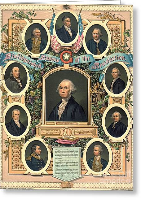 American Revolution Freemasons 1876 Greeting Card by Padre Art