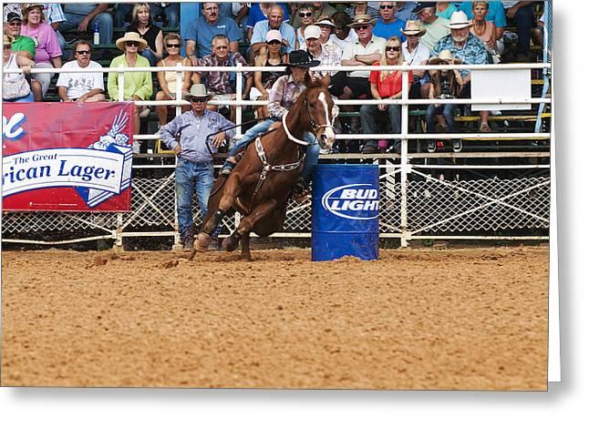 American Rodeo Female Barrel Racer White Blaze Chestnut Horse Iv Greeting Card by Sally Rockefeller