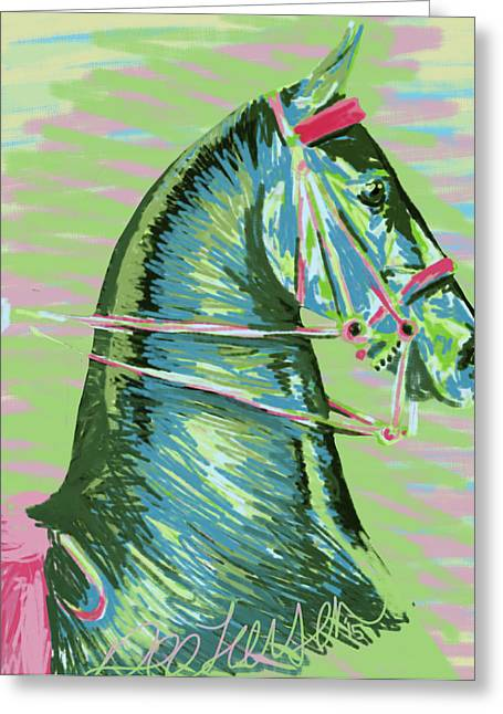 American Saddlebred Horse Digital Painting Greeting Card by Dee Larsen