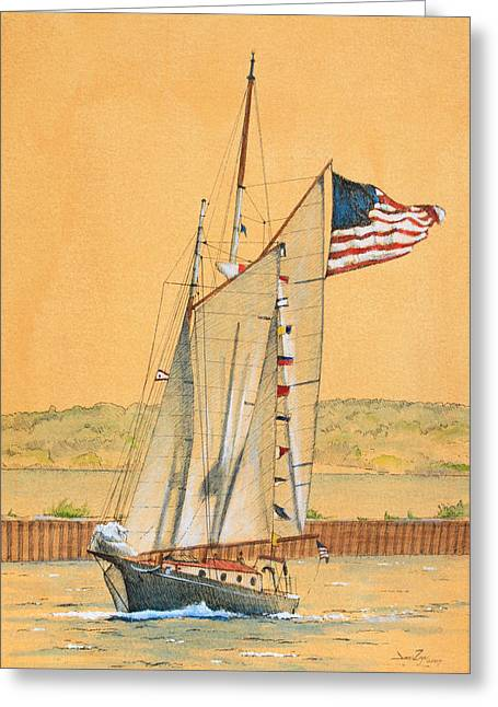 American Schooner Greeting Card by James Zeger